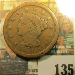 1851 U.S. Braided Hair Large Cent, VG.