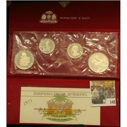 "1973 ""Republique D'Haiti"" Four-piece Silver Proof-like Set. Two different 25 Gourdes & two different"