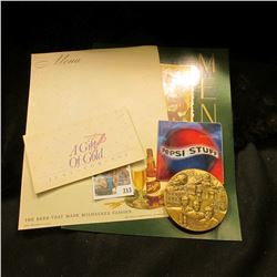 1996 Pepsi Stuff Catalog; (2) different Schlitz Beer blank advertising Menus; 24K gold plated needle
