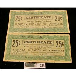 Pair of Depression Scrip Clarinda, Iowa. Issuer:  Clarinda Chamber of Commerce Certificate, Issue Da