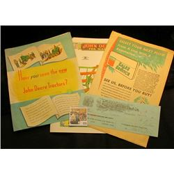 "1952 Brochure ""Have you seen the new John Deere Tractors?""; 1921 Check ""The Empire Feed & Fuel Co…De"