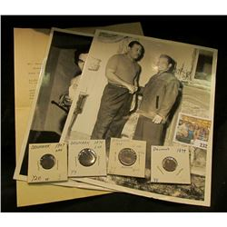 "Pair of 8"" x 10"" B & W Boxing Champion Photos; 1928 letter on letterhead ""The Miller Drug Store L.F."