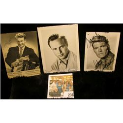 (3) different autographed B & W still Photos of famous Movie Stars including Chuck Connors, Myron Fl