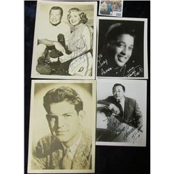 (4) different autographed B & W still Photos of famous Movie Stars including Phil Harris & Alice Fay