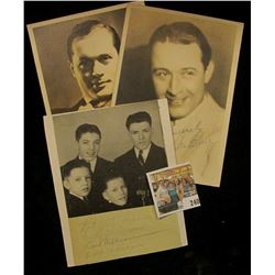 (3) different autographed B & W still Photos of famous Movie Stars including Monte Blue, Pat, & y, D