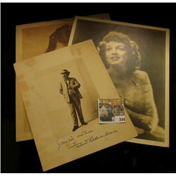 (3) different autographed B & W still Photos of famous Movie Stars including Fredend Rowl& Marirn; R