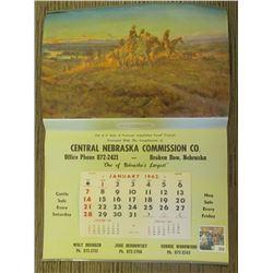 "Large 1962 Calendar ""Central Nebraska Commission Co. Broken Bow, Nebraska""."