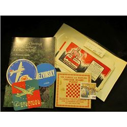 """Colonial Airlines"" coaster; ""Mezvinsky"" Sticker; ""Route of the Stratoliners TWA The Transcontinetal"