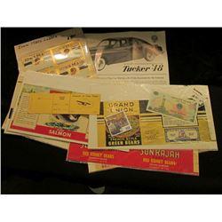 """1940 era Pilot Stub """"Souvenir of your Flight""""; (4) """"Iowa Maid Br& """" Labels; (6) different Labels for"""