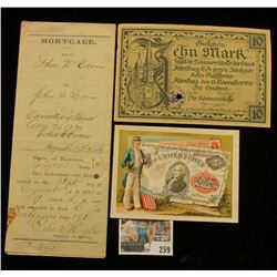 1870 Mortgage with attached Revenue Stamps from Meiys County, Ohio on State of Kansas notarized pape
