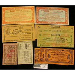 Group of very early 1900 era Scrip including Franklin Mills, Rexall, Duke's Mixture, & more.