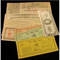 """N.W. Agriculturist…Minneapolis, Minn. Advertising Rates"" card; 25c in ""Poll Parrot Shoe Money""; $10"