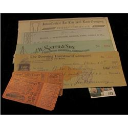 "1850 era blank check Lyons, Iowa; pair of tickets for a Free 1950 Chevrolet; 1910 era blank check ""J"