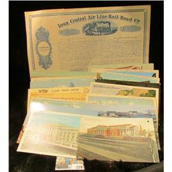"Unissued 1850 era Farming L& Scrip Certificate for ""Iowa Central Air Line Rail-Road Co.""; & (16) Dif"