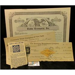1920 Constantinople, Greece Check against Letter of Credit for $100, complete with Stamp; 1901 Check