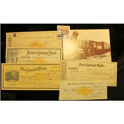 """Virginia & Truckee Railroad"" Post card; & 1866-1901 checks from the following Iowa Towns:Stanton, I"
