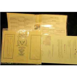 """Blank Originals for a """"Fine Foods"""" Menu (no prices); 1967 Stock Certifcate for 30 Shares """"Falstaff B"""