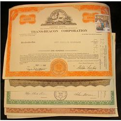 "(5) Different Stock Certificates: ""Parrot Silver & Copper Company""; ""General Foods Corporation""; ""Qu"