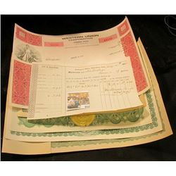 "1874 Collector's Office, Muscatine, Iowa Tax Receipt; Stock Certificate ""Citizens Bank of Checotah C"