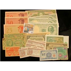 (29) Old Foreign Banknotes. Several appear to have been brought back from World War II.