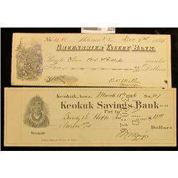 "1916 Check depicting Chief Keokuk ""Keokuk Savings Bank"", Keokuk, Ia.; & 1884 cancelled check ""Greenb"