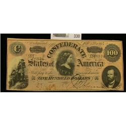 "Feb. 17th, 1864 ""Confederate States of America"" One Hundred Dollar Banknote, No. 86574."