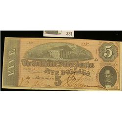 "Feb. 17th, 1864 ""Confederate States of America"" Five Dollar Banknote, No. 2387."