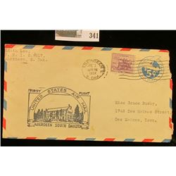 1934 First Flight Airmail Cover, Aberdeen South Dakota.