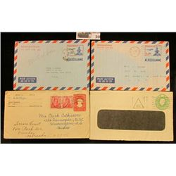 (4) Korea, Philippines & Great Britain Used Embosed Covers.