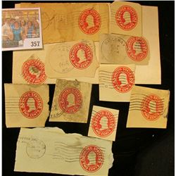(10) Cut Squares Used 2c Washington Embosed Stamps from Postal Cards. Cat. No. U411.