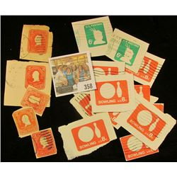 (5) 2c Washington, No. U385, (5) 6c Liberty, NoU561, (8) 8c Bowling No. U563 Cut Squares from Postal