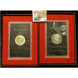 Pair of 1973 S Proof Silver Eisenhower Dollars in original boxes of issue.  At one time these sold f