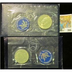 1971 S & 1972 S Brilliant Uncirculated Eisenhower Dollars in their original blue packs as issued.