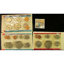 1971, 73, & 75 U.S. Mint Sets. In original packs & cellophane as issued. (total face value $9.48)
