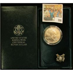 1890-1990 W Eisenhower Silver Dollar, Gem BU and in original box of Issue. Red Book $35.00.