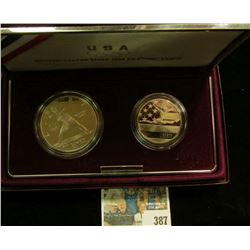 1992 S U.S. Proof Olympics Silver Dollar and Half-Dollar, Baseball & Gymnast in original box of issu