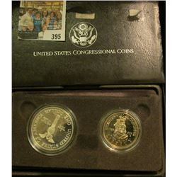 1989 S Bicentennial of Congress Two-Coin Proof Set in original case of issue. Contains the Silver Do