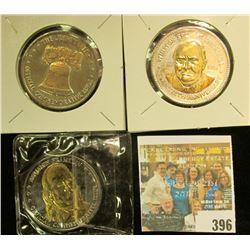 """The Liberty Bell"", ""Benjamin Franklin"", & ""Winston Spencer Churchill"" Double Eagle Gold overlay Med"