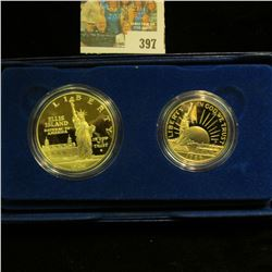 1986 S Statue of Liberty Two-Coin Commemorative Set, Half-dollar & Dollar, Gem BU. In original box o