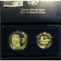 1993 S Bill of Rights Two-Coin Proof Set in original case of issue. Contains the Silver Dollar & Hal