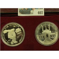 1983 S & 84 S Proof Olympics Silver Dollars Two-Coin Set.