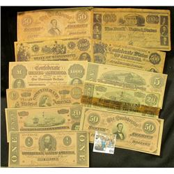 An interesting selection of facsimile Confederate States of America Bank notes and advertising notes