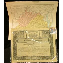 Late 1800 era Map of Railroad Map of Virginia & West Virginia, mounted & ready for framing; cancelle