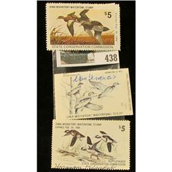 "Group of Three ""Iowa Migatory Waterfowl Stamp(s)"". Includes 1978, 79, & 83. All signed."