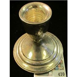 "Sterling Silver Candle Stick Holder. Stamped on bottom ""Preisner Sterling Weighted 790""."