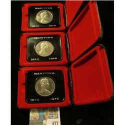"(3) Proof-like ""Manitoba 1870 1970"" Royal Canadian Mint Dollars in original cases of issue."
