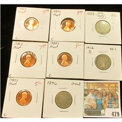 "1883 with CENTS, 1896, & 1912 D Liberty ""V"" Nickels. AG-VG; 1986 S, 87 S, 88 S, 89 S, & 90 S Proof 6"