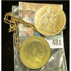 Sweater Guard Coin Jewelry made from a 1909 & 1947 Gold-plated Great Britain Large Pennies.