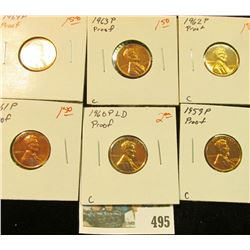 1959P, 60 P Large Date, 61 P, 62 P, 63 P & 64 P U.S. Proof Lincoln Cents.