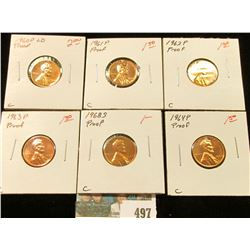 1960 P Large Date, 61 P, 62 P, 63 P 64 P, & 68 S U.S. Proof Lincoln Cents.